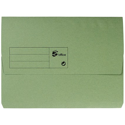 5 Star A4 Document Wallets Half Flap / 285gsm / Green / Pack of 50