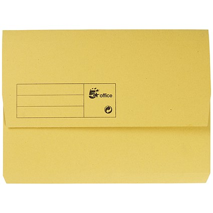 5 Star A4 Document Wallets Half Flap / 285gsm / Yellow / Pack of 50