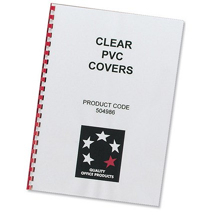 5 Star Comb PVC Binding Covers / 150 micron / A4 / Clear / Pack of 100