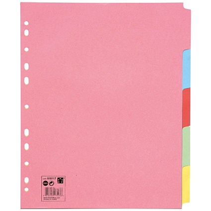 5 Star Subject Dividers, Extra Wide, 5-Part, A4, Assorted