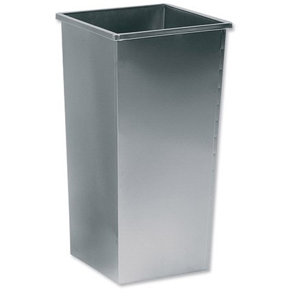 5 Star Square Waste Bin / Metal / Scratch-resistant / W325xD325xH642mm / 48 Litres / Silver Metallic