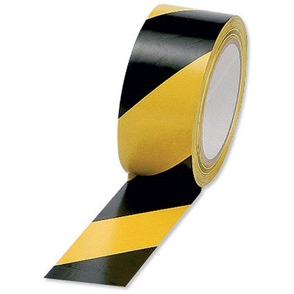 5 Star Hazard Tape Soft PVC Internal Use Adhesive 50mmx33m Black and Yellow [Pack 6]
