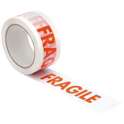 "5 Star Printed Tape ""Fragile"" Polypropylene / 50mmx66m / Red on White / Pack of 6"