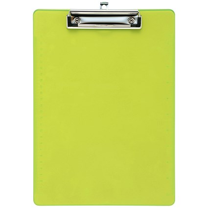 5 Star Plastic Clipboard / Durable with Rounded Corners / A4 / Lime Green