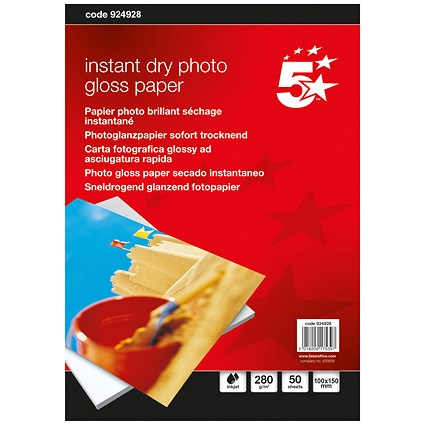5 Star Inkjet Photo Gloss Fast Drying Photo Paper, 100 x 150mm, White, 280gsm, Pack of 50 Sheets