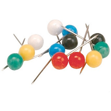 5 Star Map Pins, 5mm Head, Assorted Colours, Pack of 100