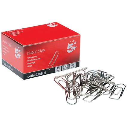 5 Star No Tear Large Paperclips - 33mm, Pack of 10x100
