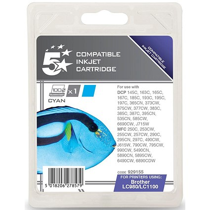 5 Star Compatible - Alternative to Brother LC1100C Cyan Inkjet Cartridge