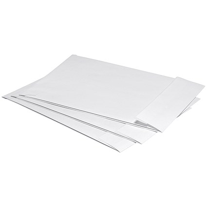 5 Star C4 Gusset Envelopes, 25mm Gusset, Peel and Seal, White, Pack of 125