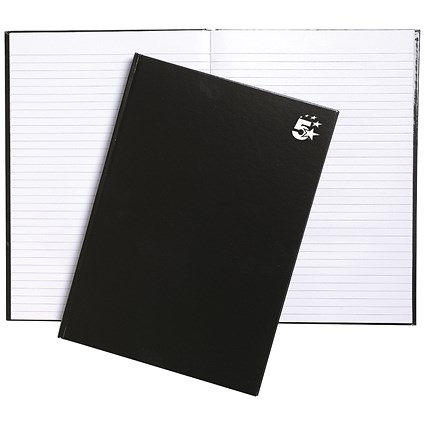5 Star Hard Cover Casebound Notebook / A4 / Ruled / 160 Pages / Pack of 5