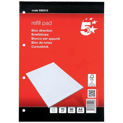 5 Star Headbound Refill Pad, A4, 70gsm, Feint Ruled, 4-Hole Punched, 80 Sheets, Pack of 10