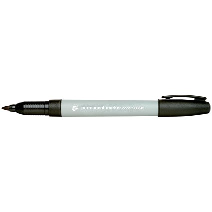 5 Star Permanent Marker, Fine, Black, Pack of 10