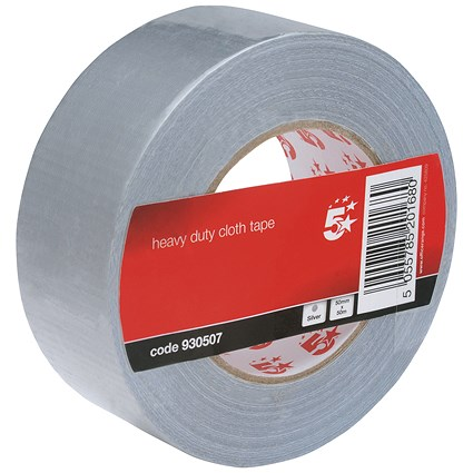 5 Star Heavy-duty Cloth Tape Roll, 50mmx50m, Silver