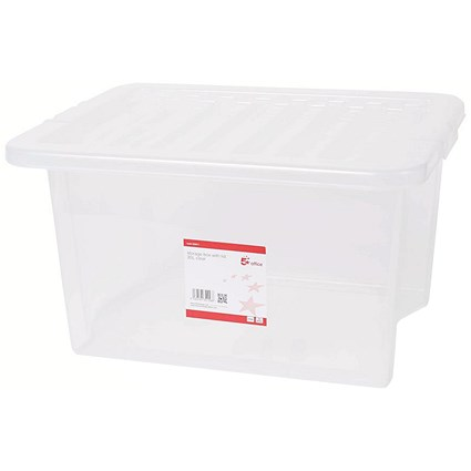 5 Star Storage Box, 35 Litre, Clear, Stackable