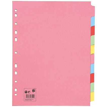 5 Star Subject Dividers / Extra Wide / 10-Part / A4 / Assorted / Pack of 10