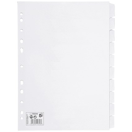 5 Star Subject Dividers / 10-Part / A4 / White / Pack of 10