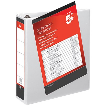 5 Star Presentation Binder / A4 / 4 D-Ring / 50mm Capacity / White / Pack of 10