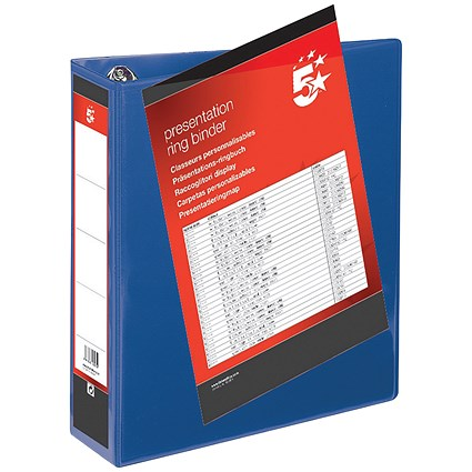 5 Star Presentation Binder, A4, 4 D-Ring, 50mm Capacity, Blue, Pack of 10