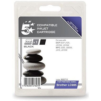 5 Star Compatible - Alternative to Brother LC985BK Black Inkjet Cartridge