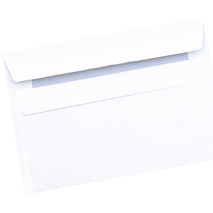 5 Star Plain White C6 Envelopes, Press Seal, 80gsm, Pack of 50