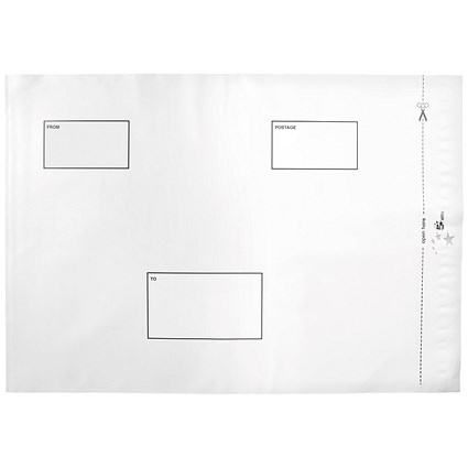 5 Star Opaque Polythene Envelopes, C3, Peel & Seal, White, Pack of 100