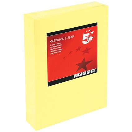 5 Star A4 Multifunctional Coloured Paper / Medium Yellow / 80gsm / Ream (500 Sheets)