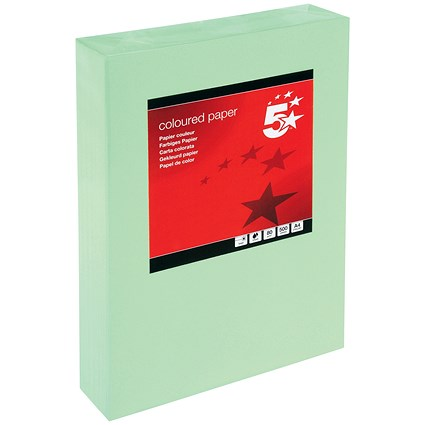 5 Star A4 Multifunctional Coloured Paper, Medium Green, 80gsm, Ream (500 Sheets)