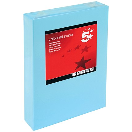 5 Star A4 Multifunctional Coloured Paper, Medium Blue, 80gsm, Ream (500 Sheets)