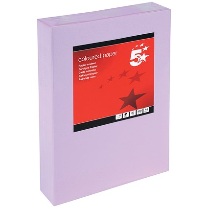 5 Star A4 Multifunctional Coloured Paper / Medium Violet / 80gsm / Ream (500 Sheets)