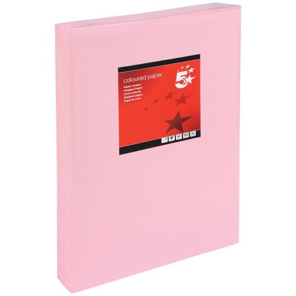 5 Star A3 Multifunctional Coloured Paper, Light Pink, 80gsm, Ream (500 Sheets)