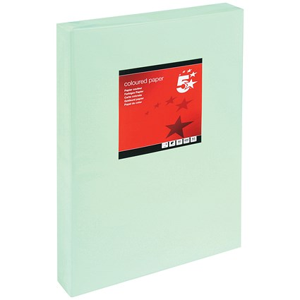 5 Star A3 Multifunctional Coloured Paper / Light Green / 80gsm / Ream (500 Sheets)