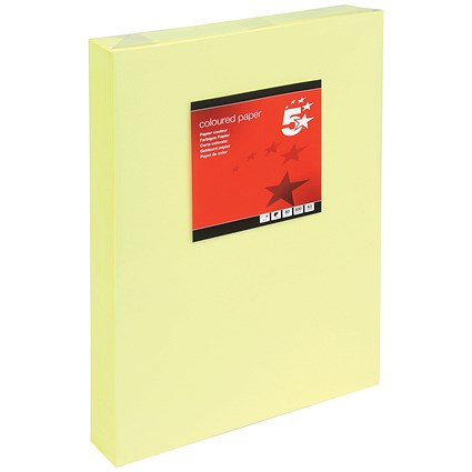 5 Star A3 Multifunctional Coloured Paper, Light Yellow, 80gsm, Ream (500 Sheets)