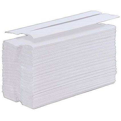 5 Star C-Fold Hand Towel, 1-Ply, White, 24 Sleeves of 100 Towels