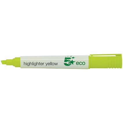 5 Star Eco Highlighters / Yellow / Pack of 10