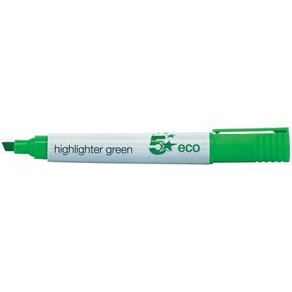 5 Star Eco Highlighters, Green, Pack of 10