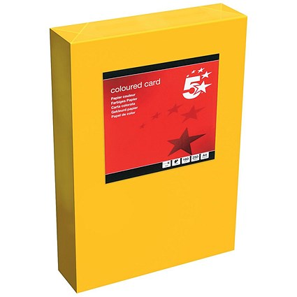 5 Star A4 Multifunctional Tinted Card, Deep Orange, 160gsm, 250 Sheets