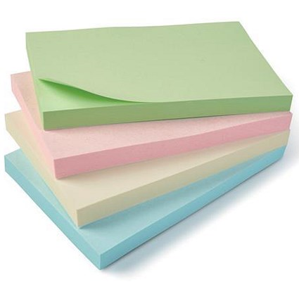 5 Star Eco Recycled Sticky Notes, 76x127mm, Pastel, Pack of 12