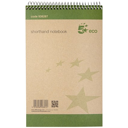 5 Star Eco Shorthand Notebook, 80 Sheets, Pack of 10