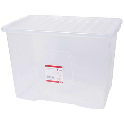 5 Star Storage Box, 80 Litre, Clear, Stackable