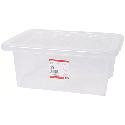 5 Star Storage Box, 16 Litre, Clear, Stackable