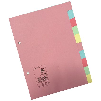 5 Star Subject Dividers / 10-Part / A5 / Assorted