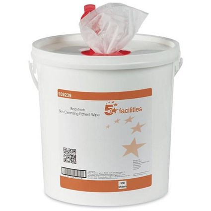 5 Star Cleansing Wet Skin Wipes / Fragranced / Bucket of 500 Wipes