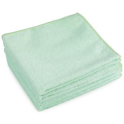 5 Star Premium Microfibre Cloths / Green / Pack of 5