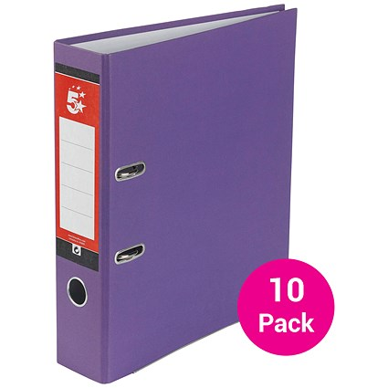 5 Star A4 Lever Arch Files, Purple, Pack of 10