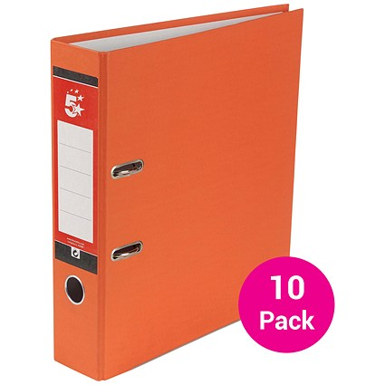 5 Star A4 Lever Arch Files / Orange / Pack of 10