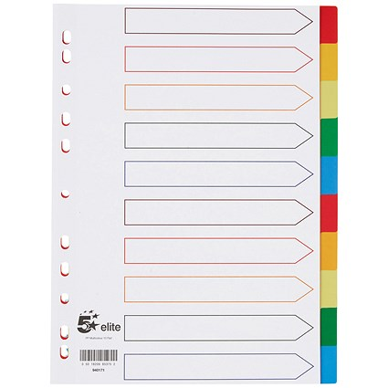 5 Star Elite Plastic File Dividers, 10-Part, Multicoloured Tabs, A4, White