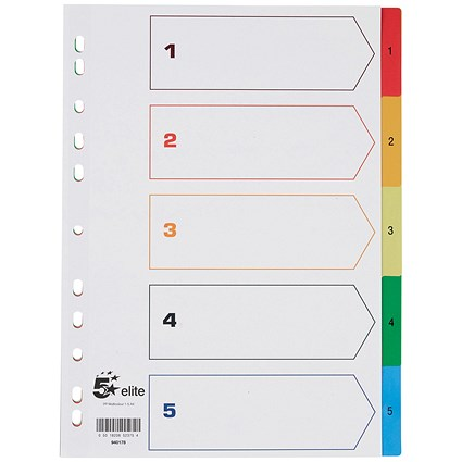5 Star Elite Plastic Index Dividers, 1-5, Multicoloured Tabs, A4, White