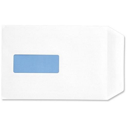 5 Star Eco C5 Pocket Envelopes, Window, White, Press Seal, 90gsm, Pack of 500