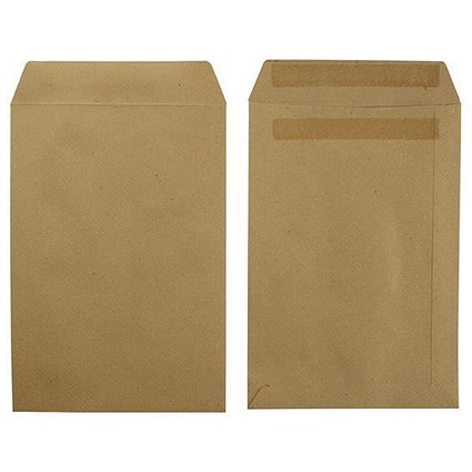 5 Star Recycled Pocket Envelopes / Manilla / Press Seal / 115gsm / 254x178mm / Pack of 250