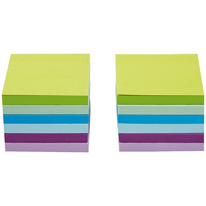 5 Star Sticky Notes, 76x76mm, Neon & Pastel Mix, Pack of 12 x 100 Notes